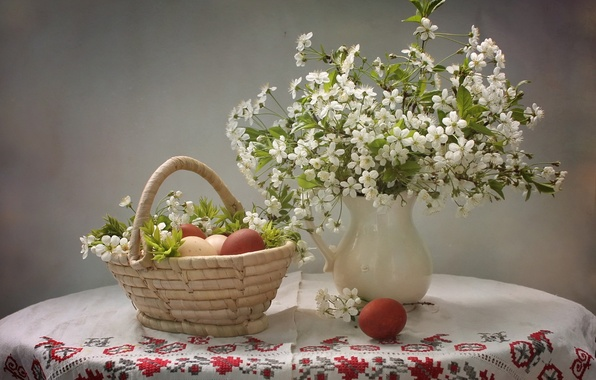 Картинка вишня, яйца, Пасха, корзинка, крашенки