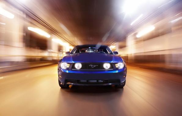 Картинка свет, скорость, mustang, ford, blue