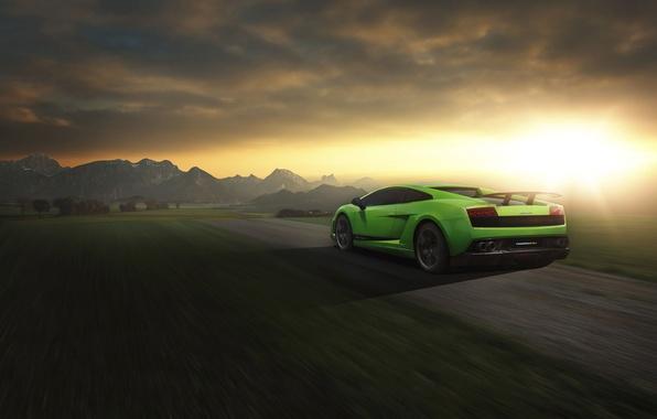 Картинка Lamborghini, Superleggera, Gallardo, Green, Speed, LP 570-4, Sunset, Road, Rear