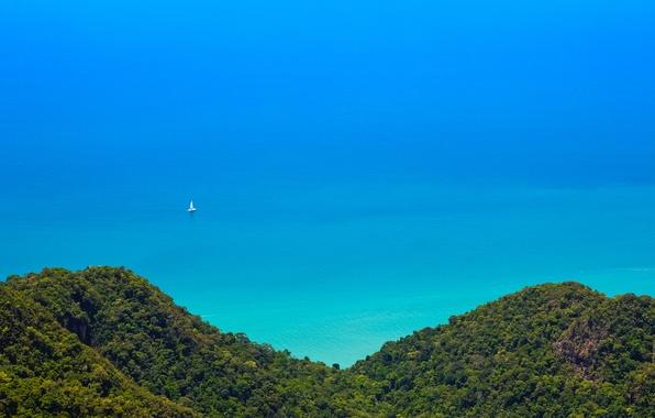 Картинка лес, пейзаж, горы, природа, океан, вид, джунгли, Malaysia, Langkawi
