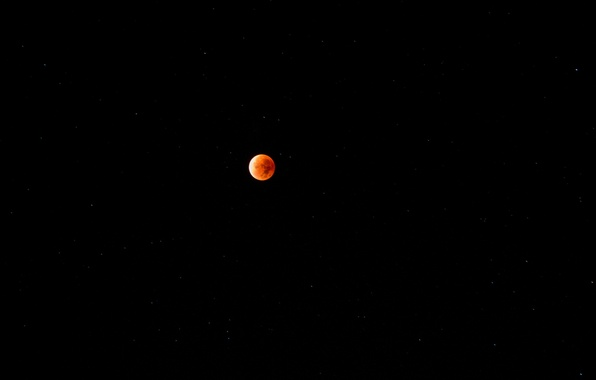Картинка небо, звезды, планета, спутник, Луна