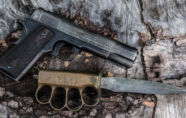 Картинка пистолет, оружие, нож, модели, кобура, M1911, самозарядный, окопный, «U.S.1918 mark I»
