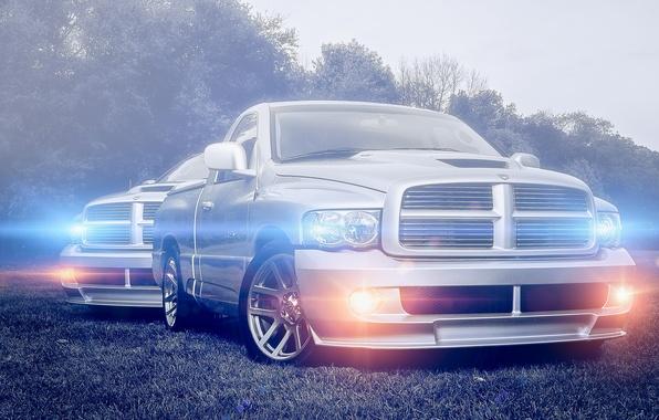 Картинка блики, серебристый, Dodge, додж, пикап, front, pickup, silvery, Ram