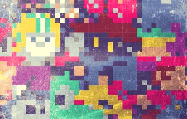 Картинка мозаика, абстракция, квадратики, текстура, разноцветные, abstraction