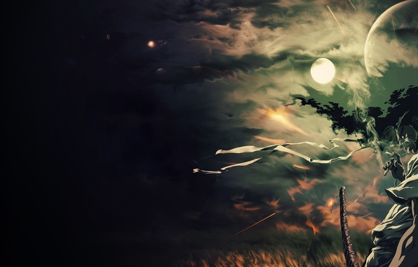 Картинка ночь, ленты, ветер, луна, арт, парень