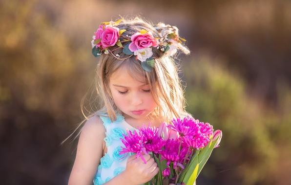 Фото обои девочка, лето, цветы