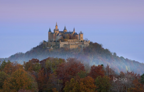 Картинка осень, лес, небо, деревья, гора, Германия, замок Гогенцоллерн