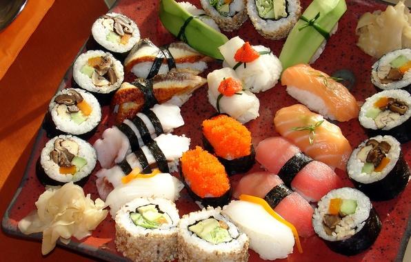 Картинка зелень, грибы, Япония, Japan, перец, рис, россыпь, икра, ломтики, суши, роллы, морепродукты, васаби, японская кухня, ...
