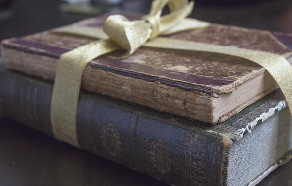 Картинка книги, старые, лента, бант