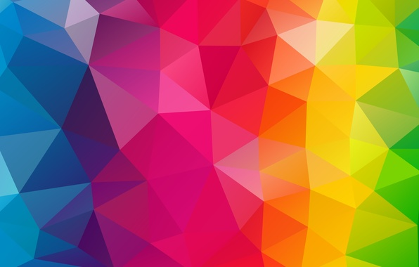 Картинка фиолетовый, свет, линии, оранжевый, синий, красный, жёлтый, розовый, треугольники, радуга, текстура, изгиб, грани, зелёный, геометрия, …
