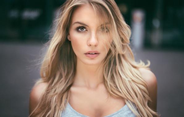 Картинка girl, eyes, beauty, bokeh, hair, blonde, portrait, natural, Paulina, Martin Kuhn