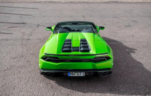 Картинка машина, green, тюнинг, зад, Lamborghini, supercar, Spyder, выхлопы, Novitec, Torado, Huracan, новитек