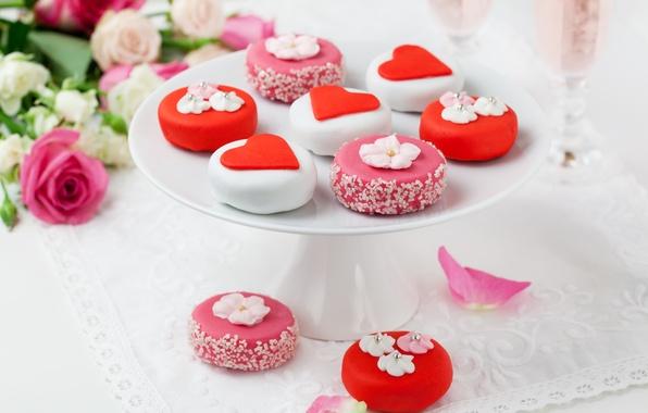 Картинка украшения, цветы, еда, розы, букет, сердца, десерт, сладкое, глазурь