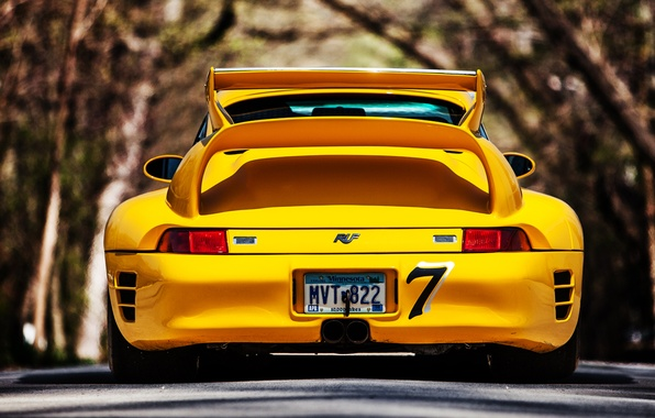 Картинка 911, Porsche, road, yellow, back, 993, ruf, ctr2