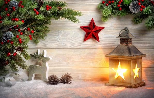 Картинка снег, ветки, звезда, олень, Рождество, фонарь, Новый год, шишки, фигурка