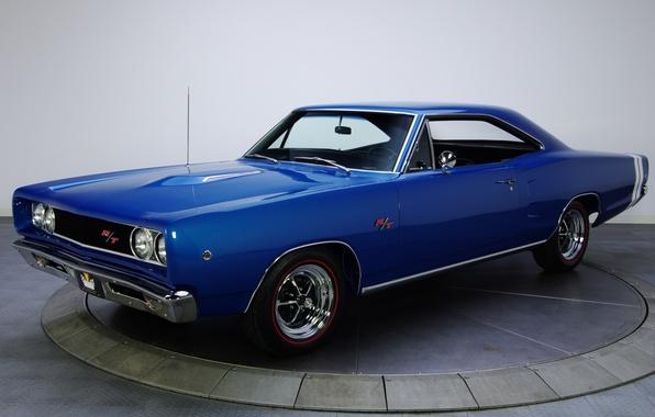 Картинка синий, фон, Додж, Dodge, передок, Coronet, 1968, Muscle car, Мускул кар, R T, Коронет