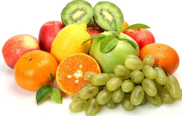 Картинка ягоды, лимон, яблоки, киви, виноград, фрукты, цитрусы, мандарины