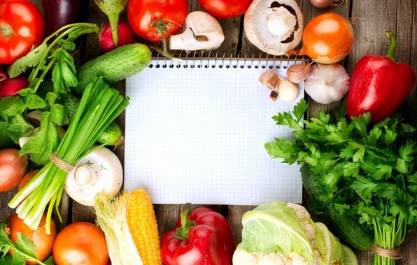 Картинка зелень, кукуруза, тетрадь, овощи, помидоры, огурцы, чеснок, шампиньоны, цветная капуста, красный перец