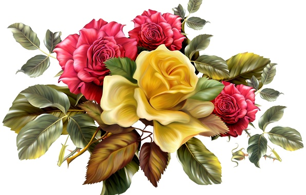 Картинка листья, цветы, фон, розы, букет, желтые, шипы, красные
