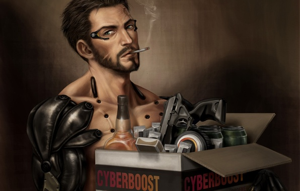 Картинка коробка, сигарета, киборг, курит, Deus Ex: Human Revolution, deus ex, Adam Jensen, Deus Ex: Mankind …