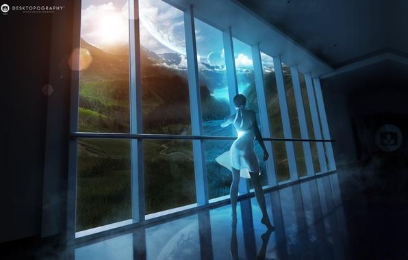 Картинка девушка, облака, пейзаж, река, планеты, вид, платье, окно, girl, window, Fantasy world, фэнтези мир