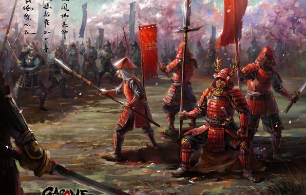 Картинка оружие, азия, меч, катана, армия, арт, копье, броня, войско, знамя, самураи