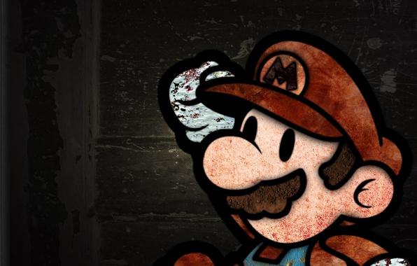Картинка фон, текстура, Марио, гранж