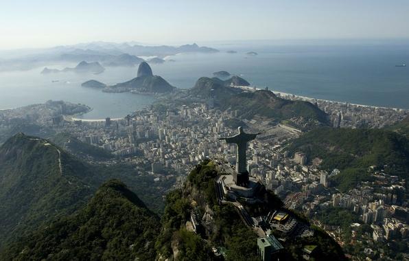 Картинка море, Бразилия, sea, Рио-де-Жанейро, Brazil, Cristo Redentor, Rio de Janeiro, Корковадо, Сахарная Голова, Corcovado, Кристо …