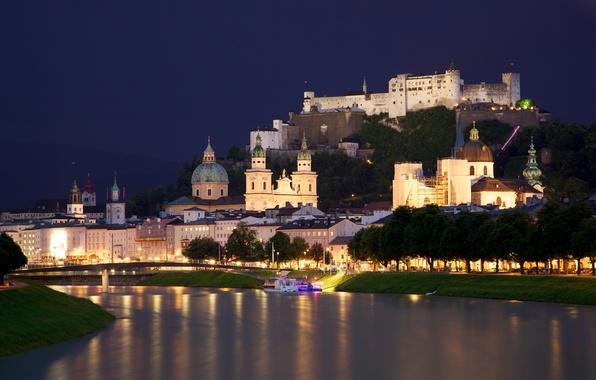 Картинка ночь, мост, город, огни, река, замок, пристань, дома, Австрия, церковь, собор, river, houses, castle, Austria, ...