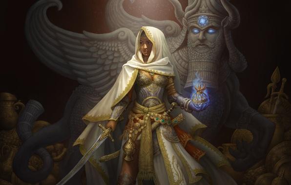 Картинка девушка, свет, украшения, артефакт, золото, магия, фэнтези, арт, капюшон, ткань, сокровища, сабля