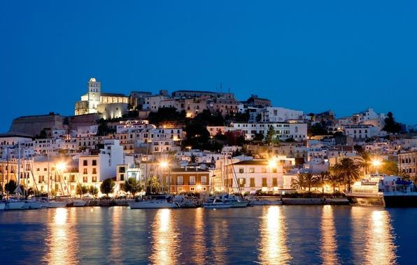Картинка море, свет, ночь, огни, остров, яхты, домики, Испания, Ибица