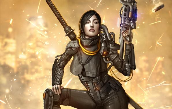 Картинка девушка, оружие, фантастика, меч, костюм, sword, art, katana, suit, madam