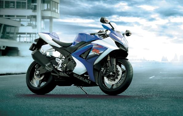 Картинка дорога, мотоцикл, sport, suzuki, moto