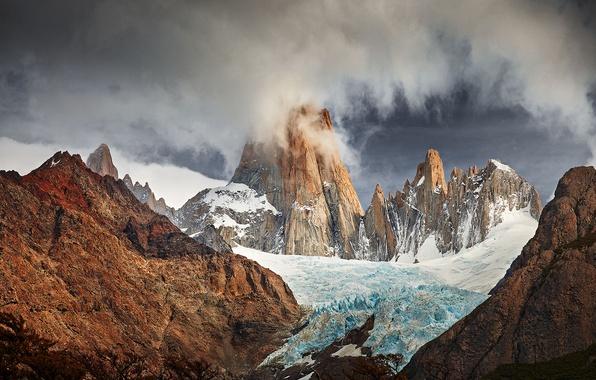 Картинка ледник, Южная Америка, Патагония, горы Анды