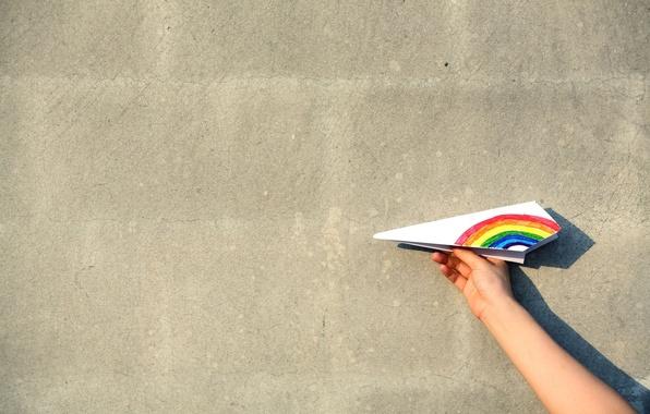 Картинка самолет, фон, обои, настроения, рисунок, рука, радуга, мальчик, девочка, wallpaper, широкоформатные, background, полноэкранные, HD wallpapers, ...