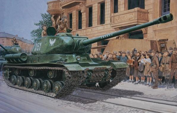 Картинка дорога, улица, рисунок, дома, арт, народ, танки, ИС-2, колонна, танкисты, советские, тяжелые, освободители