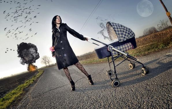 Картинка дорога, девушка, взрыв, стиль, ситуация, коляска