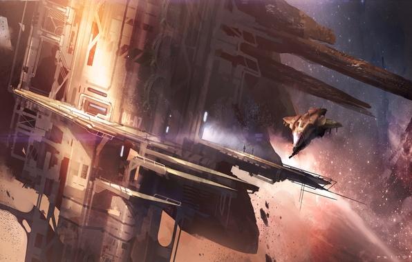 Картинка корабль, планета, станция, Halo, Reach
