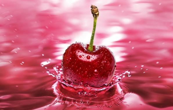 Картинка вода, макро, вишня, всплеск, черешня