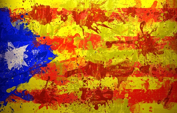 Картинка краски, звезда, флаг, flag, Estelada, Неофициальный флаг каталонских земель, Эстелада