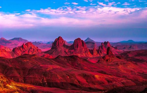 Картинка песок, горы, скалы, пустыня, Африка, Алжир, Сахара