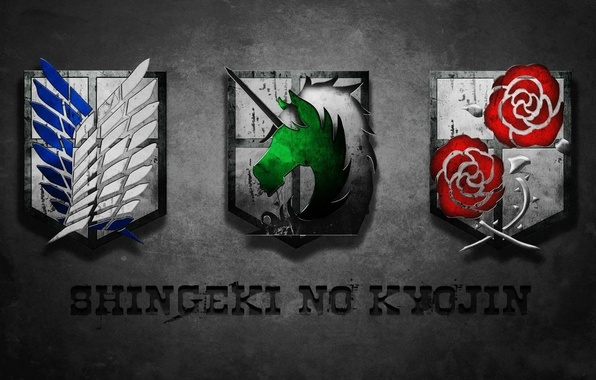 Картинка logo, game, anime, wings, team, horse, asian, roses, human, manga, Military Police, unicorn, japanese, oriental, …