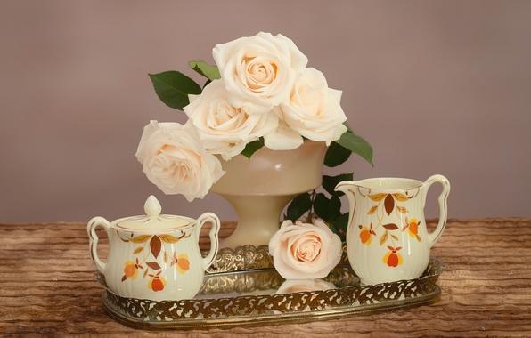 Картинка нежность, розы, букет, посуда, поднос