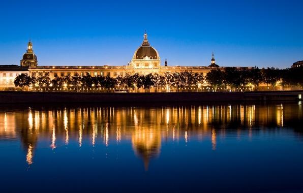 Картинка ночь, огни, река, Франция, вечер, Европа, автобус, путешествие, Лион