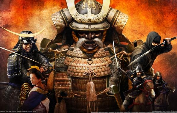 Картинка девушка, обои, япония, меч, катана, самурай, рога, всадник, ниндзя, воины, желтый фон, shogun total war, …
