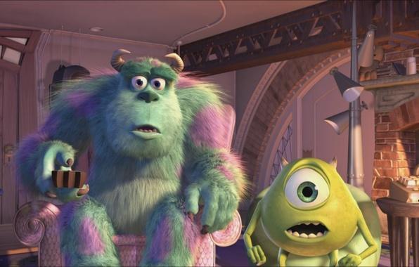 Картинка мультфильм, pixar, майк, корпорация монстров, вазовски, дисней, disney, monsters.inc, салли, пиксар, салливан