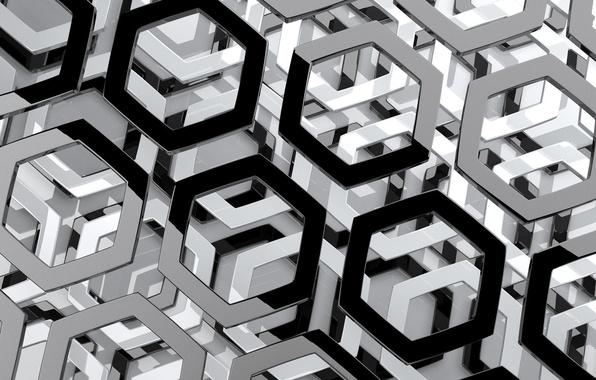 Картинка абстракция, соты, шестигранник, объем