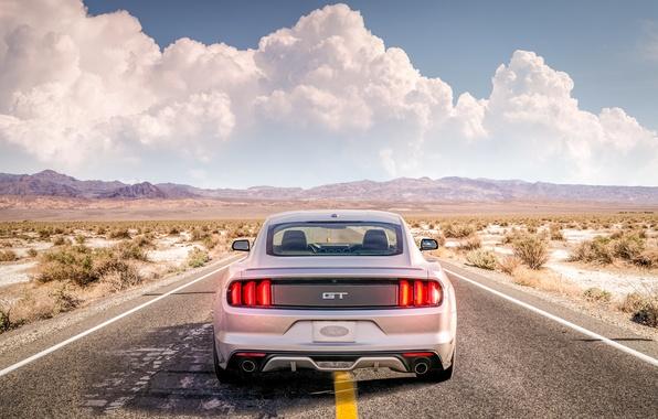 Картинка дорога, пустыня, mustang, ford