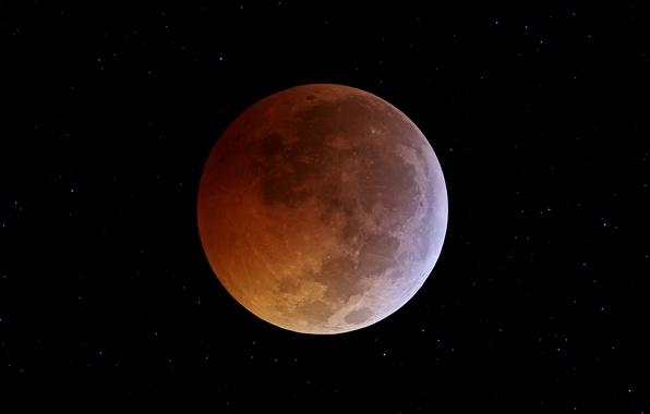 Картинка космос, звезды, Луна, затмение