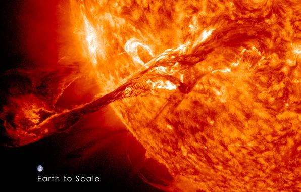 Картинка солнце, космос, земля, звезда, планета, корона, CME